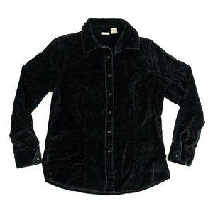 LL Bean Button Shirt Long Sleeve Velvet Black Sz S